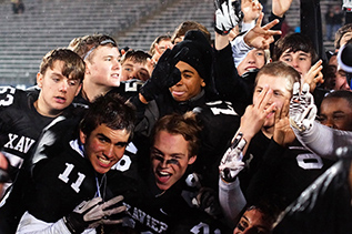 The Falcons celebrate their history-making victory  Photo  Dave    Xavier Football